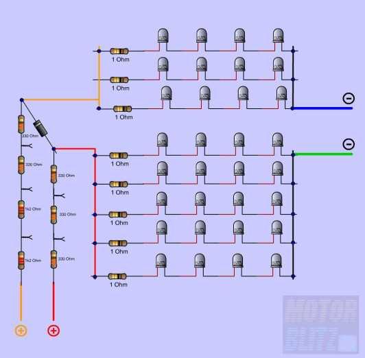 7rangkaian 4led + tahanan lampu rem-senja pisah