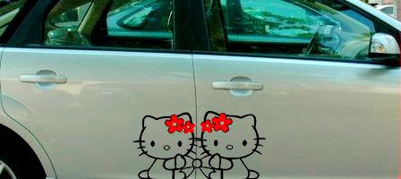 stiker hello kitty pintu mobil