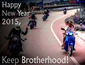 card wp Happy new year 2015 motorcycle theme