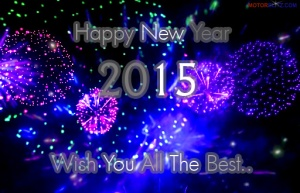 happy new year 2015 card blue
