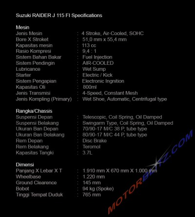 Suzuki RAIDER J 115 FI Specifications
