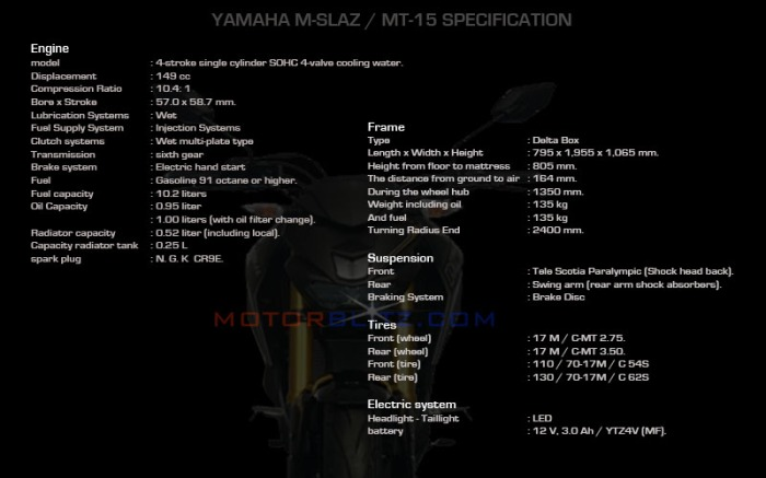 YAMAHA M-SLAZ MT-15 SPECIFICATION