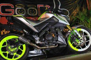 green hijaumodifikasi Yamaha Xabre 150 M-Slaz