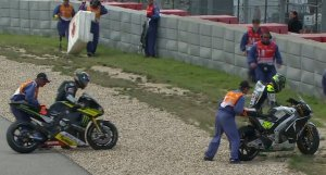 Crutchlow and Smith fall in separate incidents at the same corner